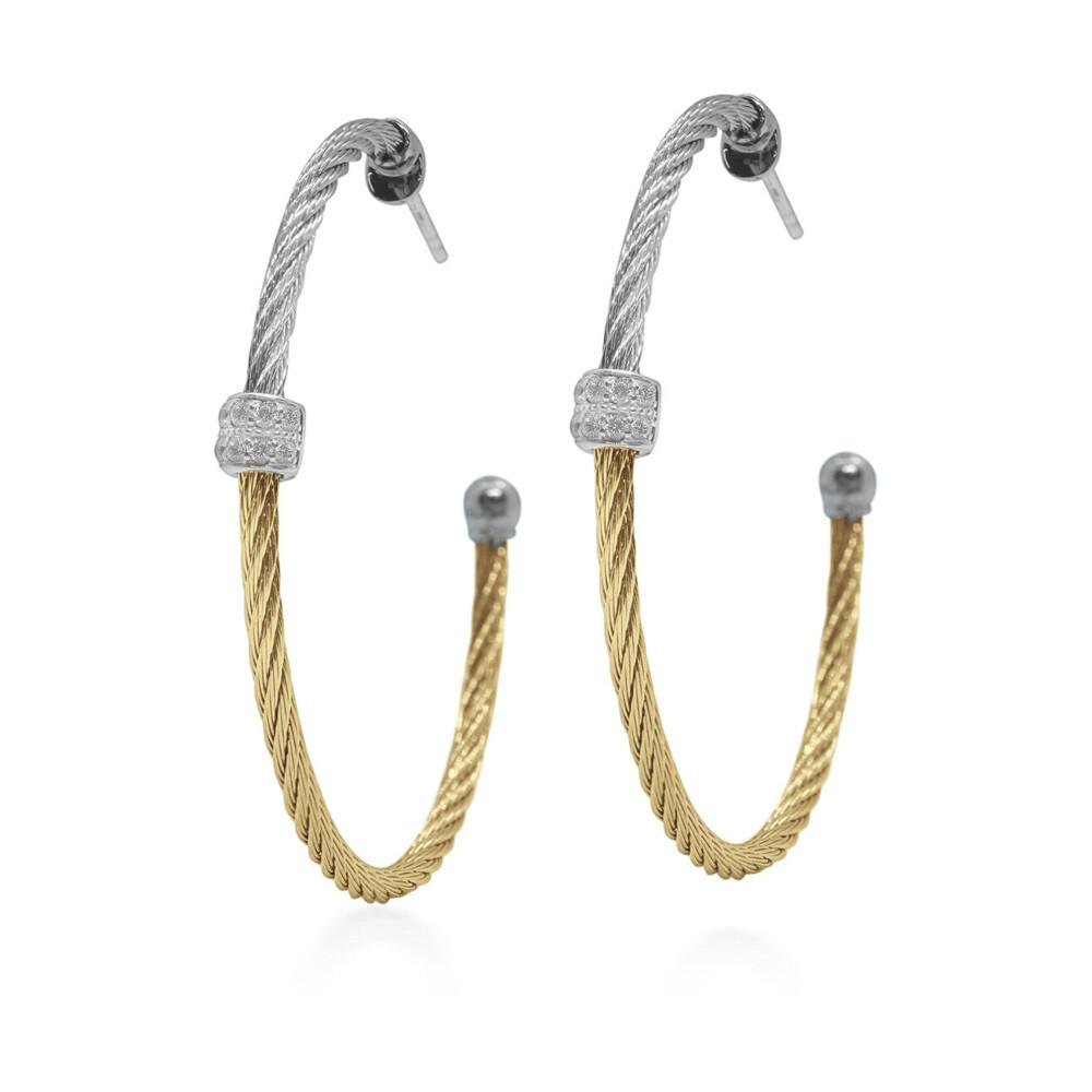 Grey & Yellow Colorblock Hoop Earrings
