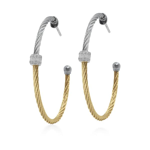 Closeup photo of Grey & Yellow Colorblock Hoop Earrings