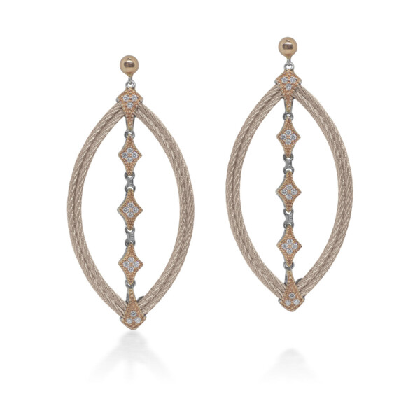 Closeup photo of Carnation Cable Lace Marquise Earrings with 18kt Rose Gold & Diamonds
