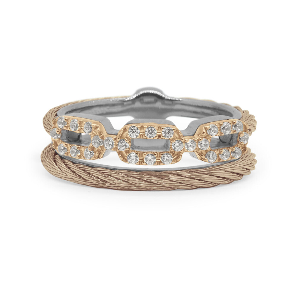 Carnation Cable Layered Links Ring with 18kt Rose Gold & Diamonds