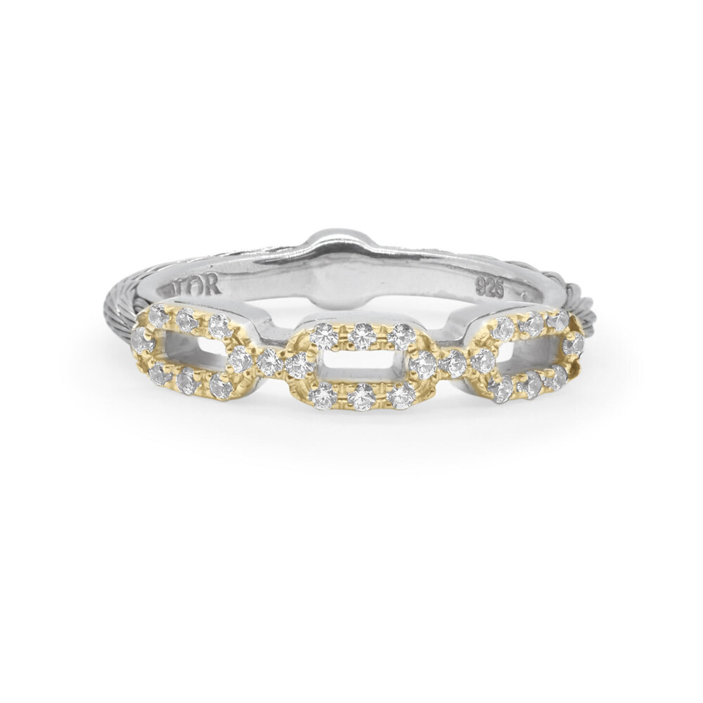 Grey Cable Layered Links Ring with 18kt Yellow Gold & Diamonds