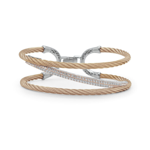 Closeup photo of Carnation Cable Tranverse Bracelet with 18kt Rose Gold & Diamonds