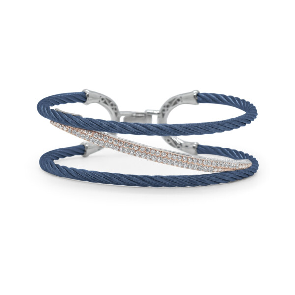Closeup photo of Blueberry Cable Tranverse Bracelet with 18kt Rose Gold & Diamonds