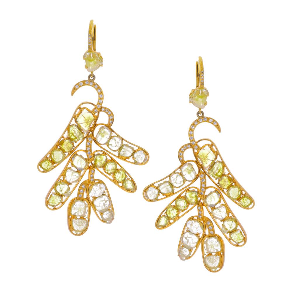 Yellow Diamond Slice Chandelier Earrings