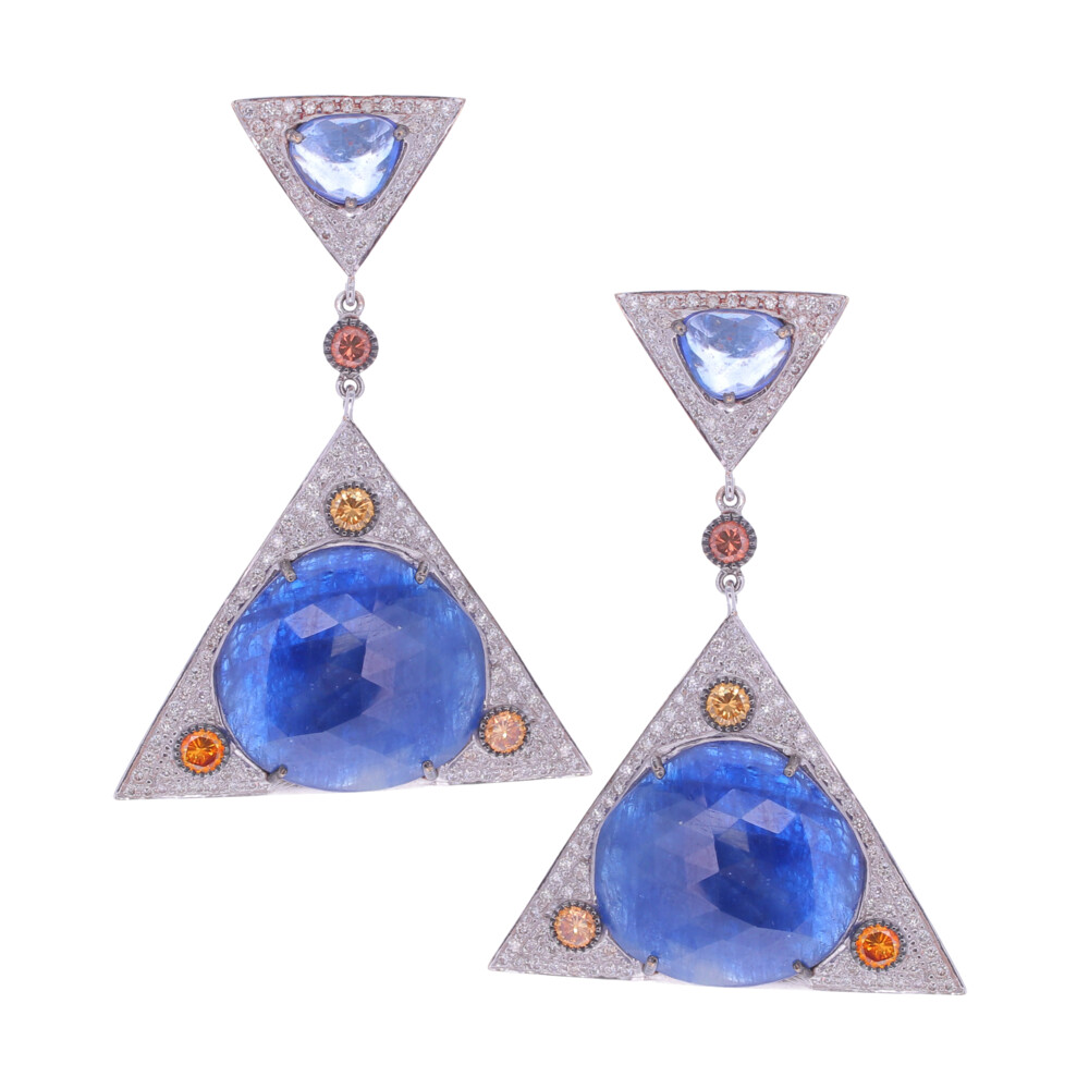 Rose Cut Sapphire & Fancy Diamond Geometric Earrings