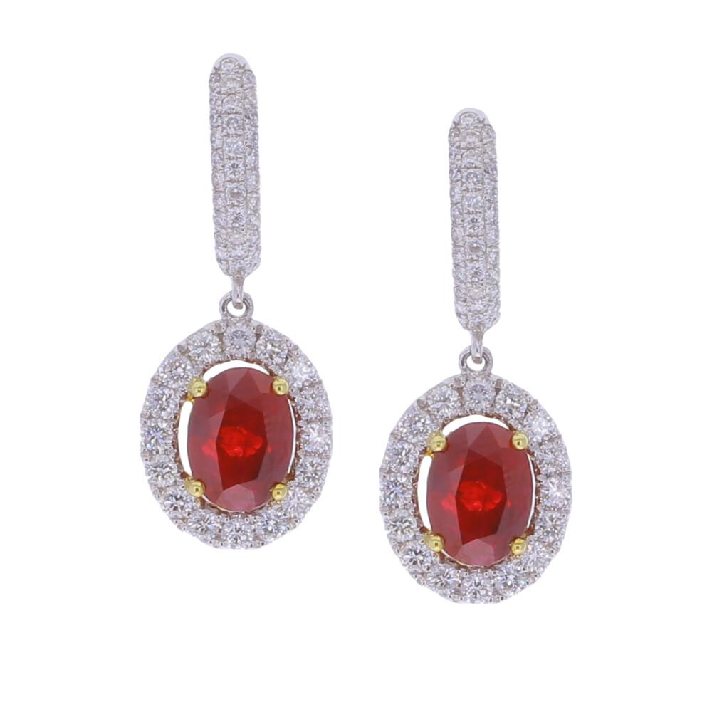 18k Burma Ruby Earrings