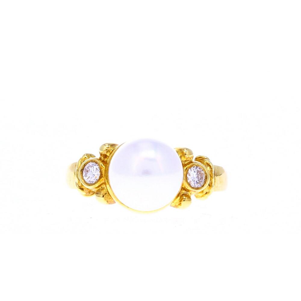 18k YG Pearl & Diamond Ring