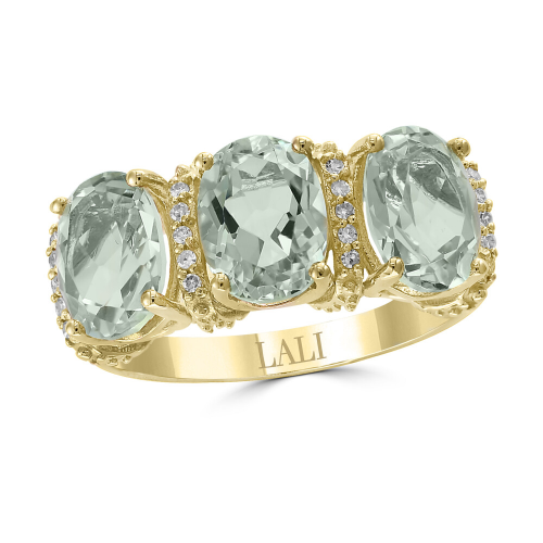 Triple Green Amethyst Ring with Diamond Accents