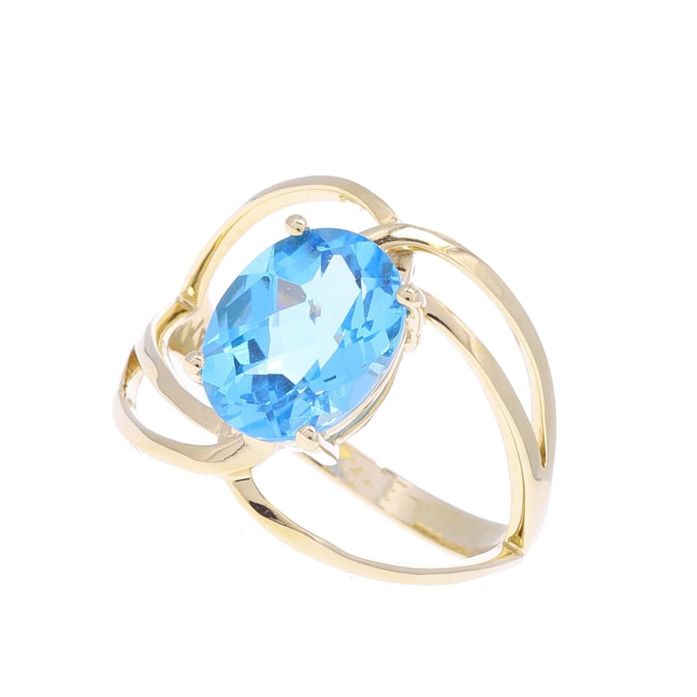 14k Oval Swiss Blue Topaz Wide Ring