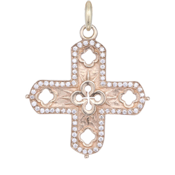 Closeup photo of 14k Diamond Cross Pendant