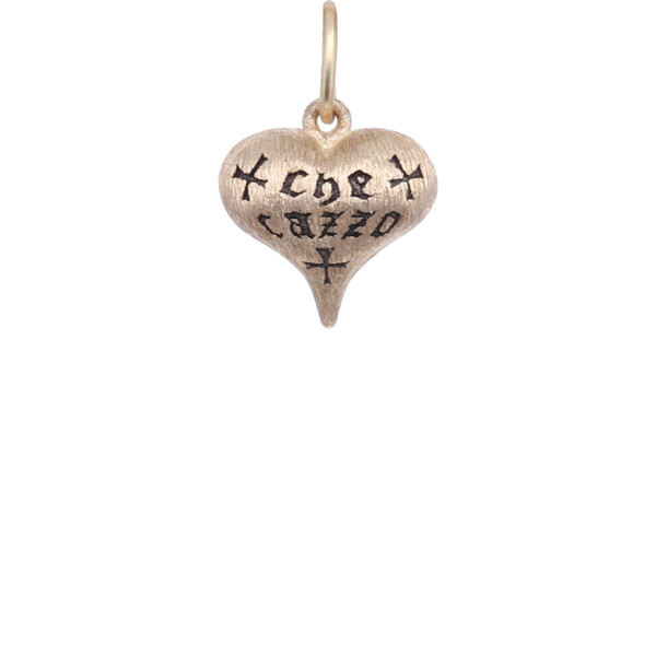 """Closeup photo of 14k """"What The F***"""" Puffy Heart Charm Pendant"""