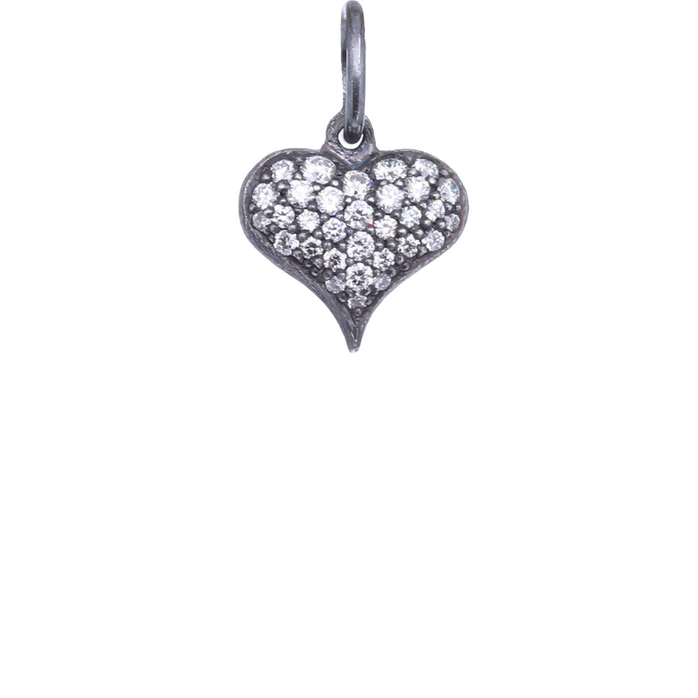 SS Puffy Diamond Heart Charm Pendant