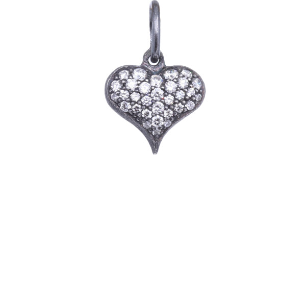 Closeup photo of SS Puffy Diamond Heart Charm Pendant