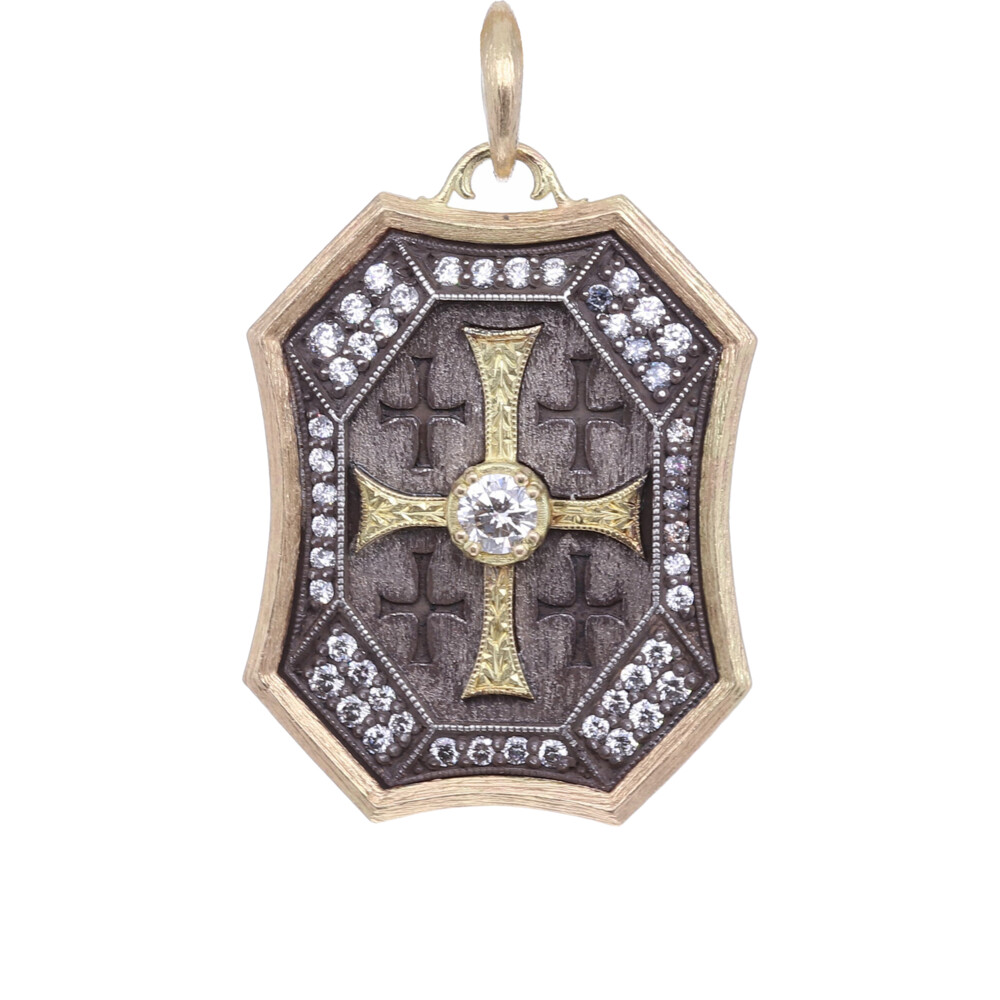 18k Large Cross Shield Pendant