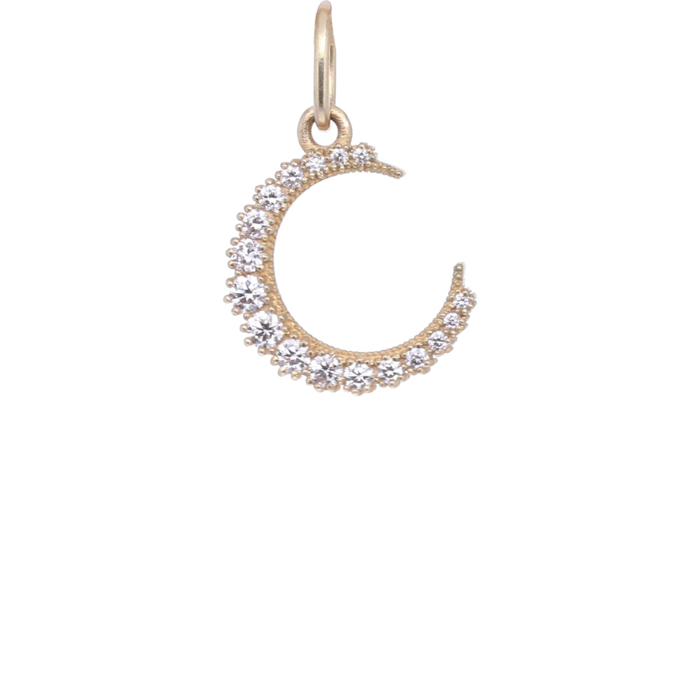 18k Diamond Crescent Moon Charm Pendant