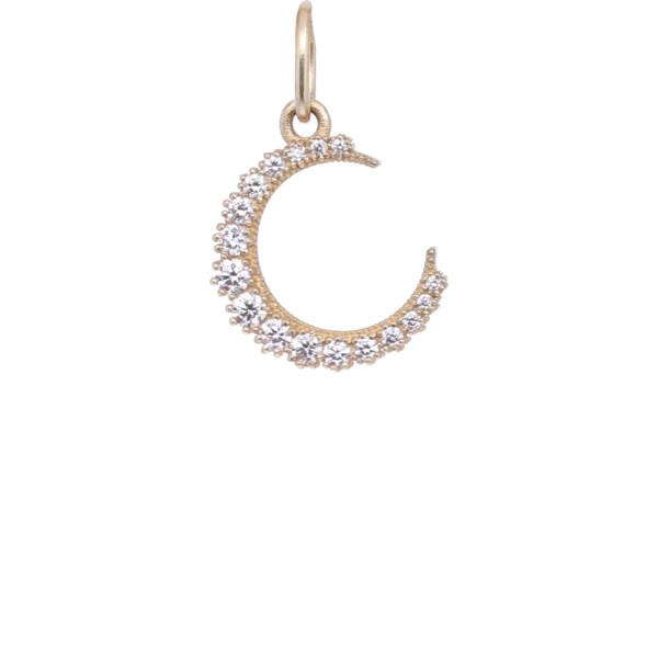 Closeup photo of 18k Diamond Crescent Moon Charm Pendant