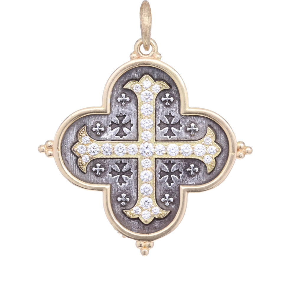 18k Large Maltese Cross Quatrefoil Charm Pendant