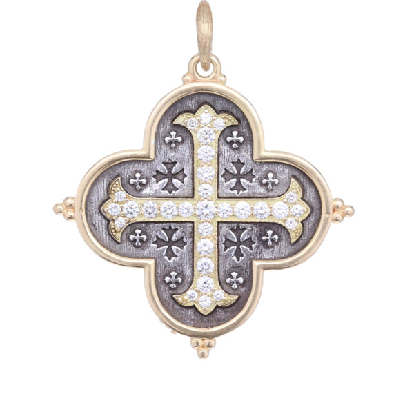Closeup photo of 18k Large Maltese Cross Quatrefoil Charm Pendant