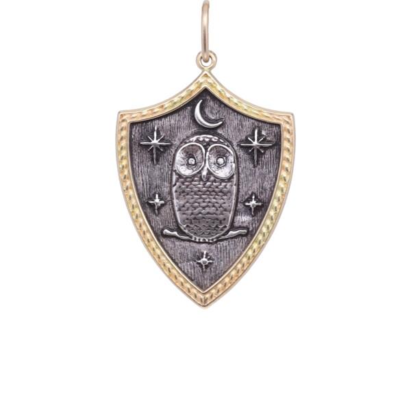 Closeup photo of 18k Owl Shield Charm with Diamond Eyes Pendant