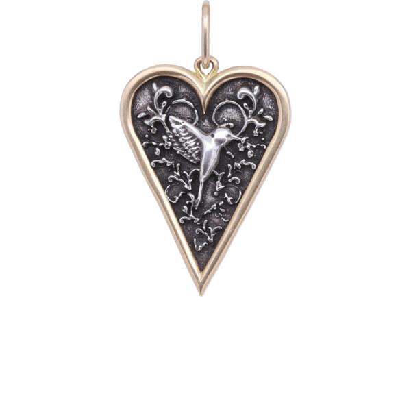 Closeup photo of 18k Small Heart Hummingbird Charm Pendant