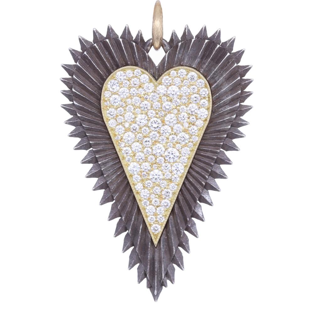 18k Large Heart w/Pave Center Pendant