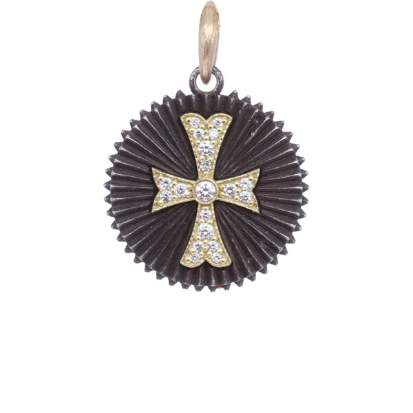 Closeup photo of 18k Small Round Diamond Cross Pendant
