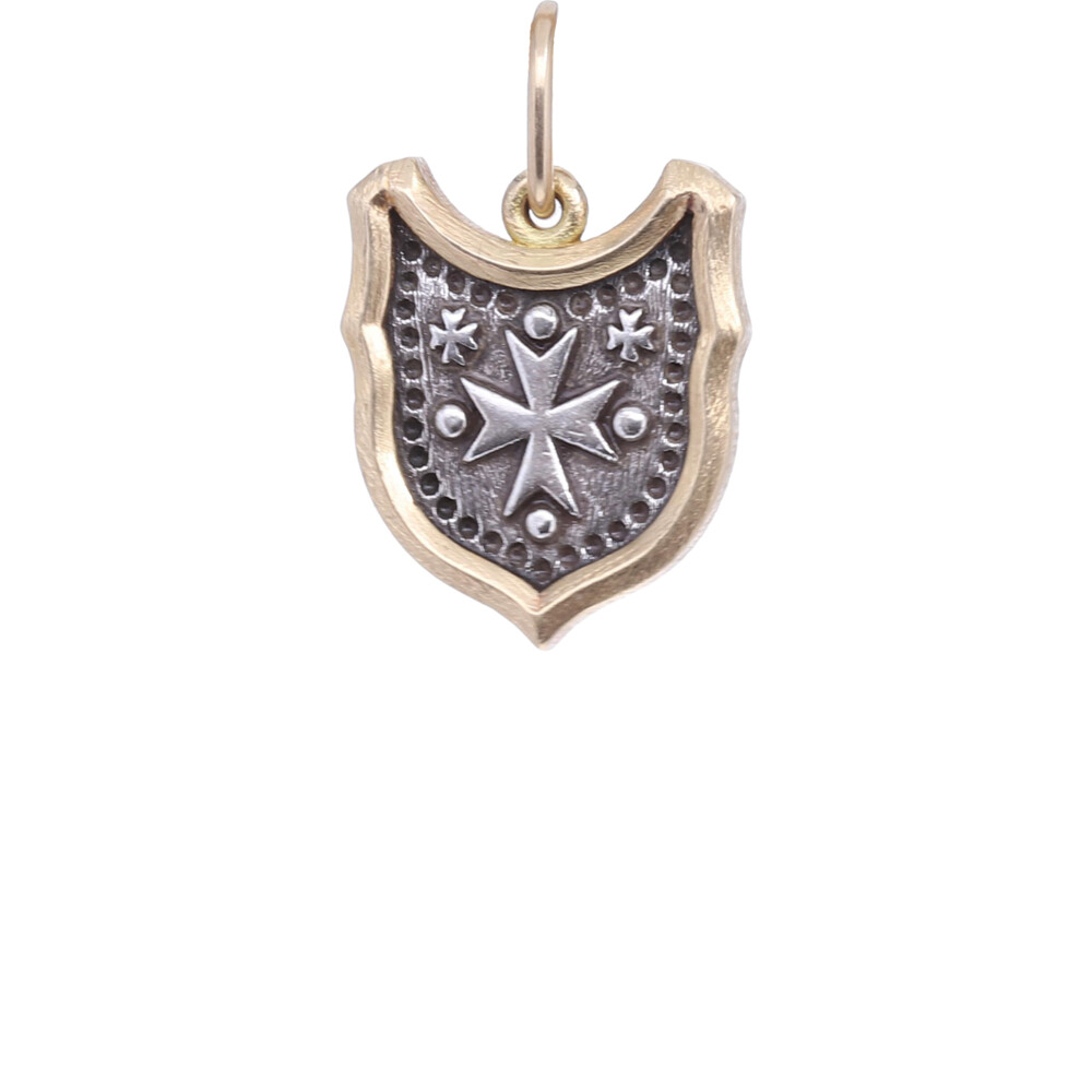 18k Baby Shield with Maltese Cross Charm Pendant