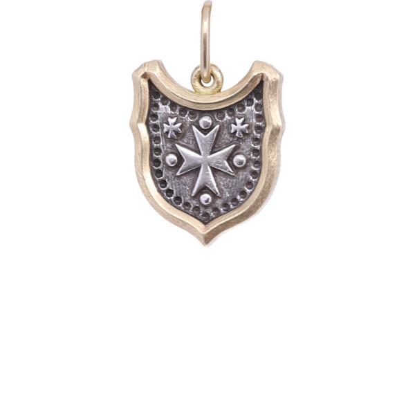 Closeup photo of 18k Baby Shield with Maltese Cross Charm Pendant