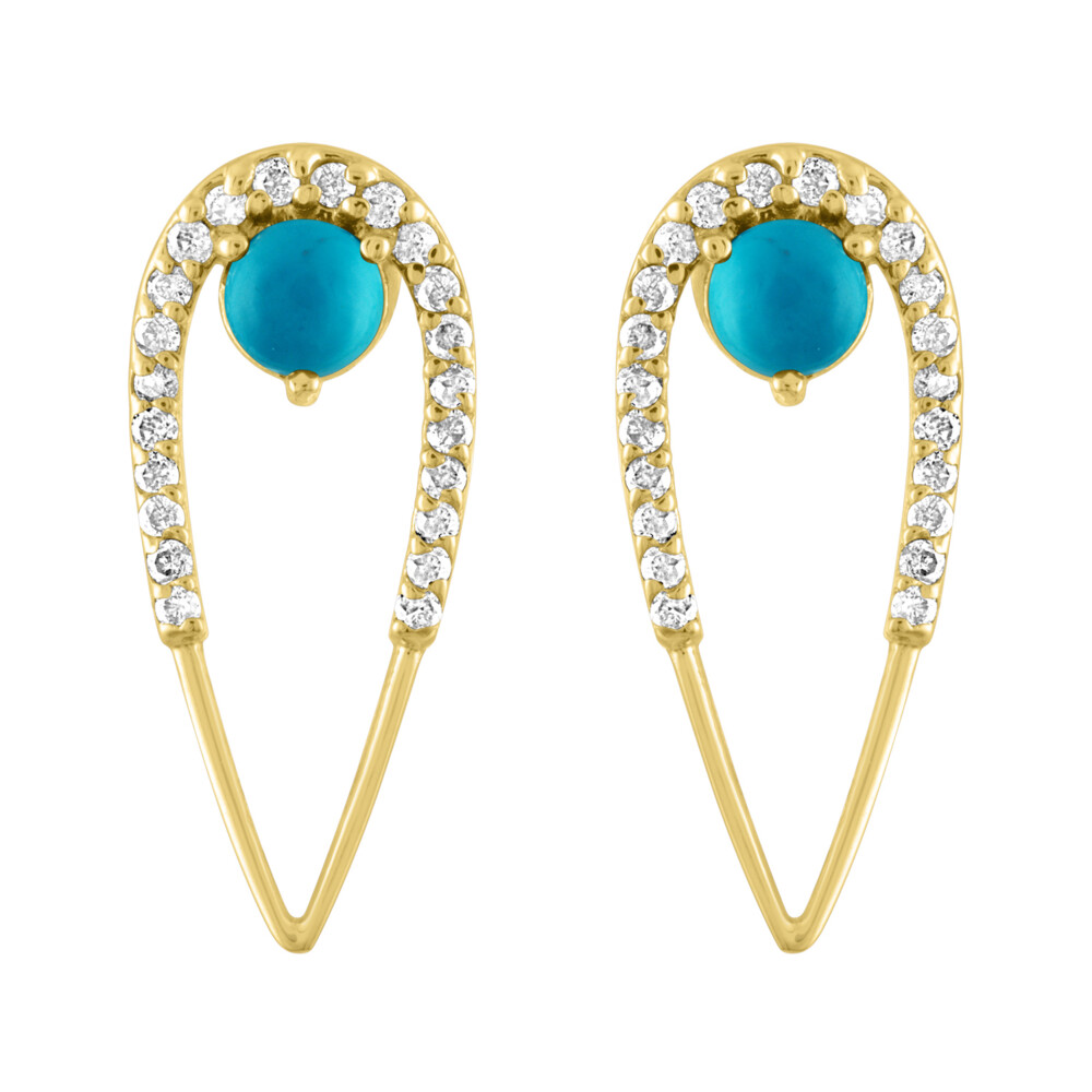 Marquise Turquoise Peacock Studs