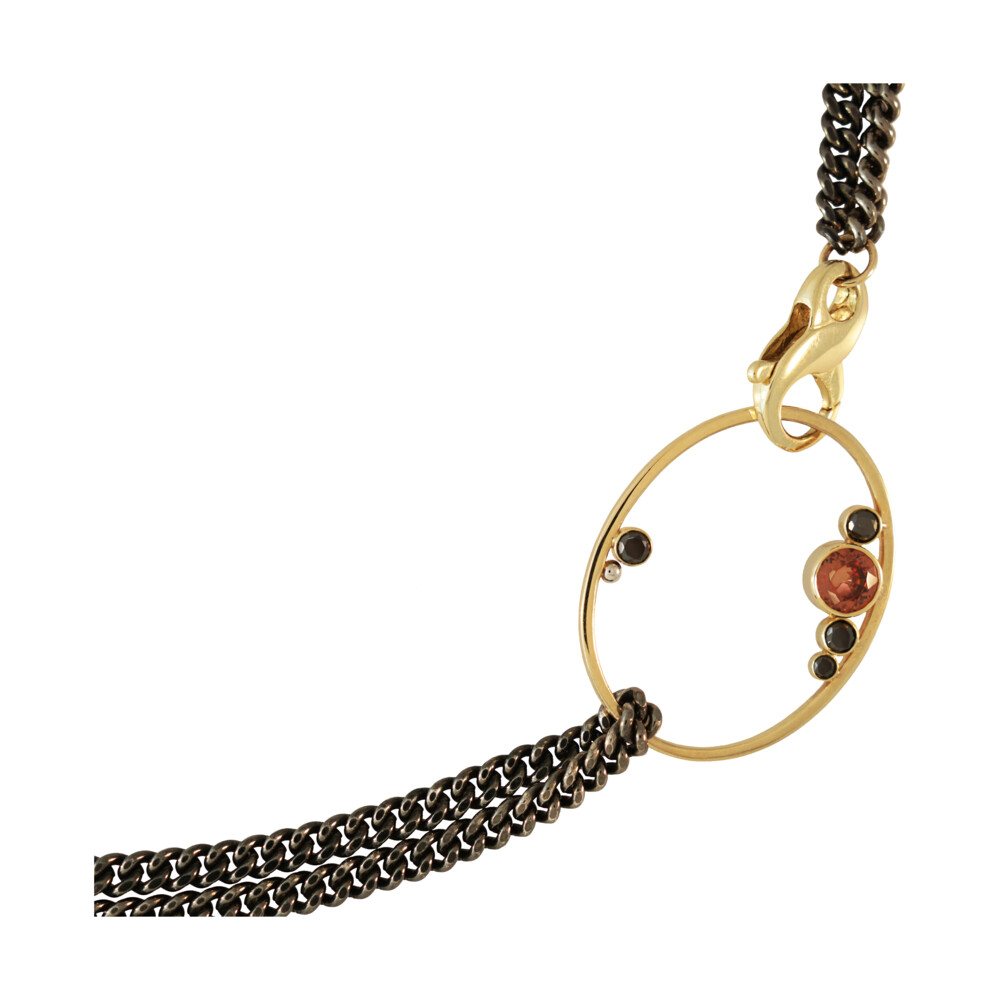 Gem Oval Curb Chain Necklace