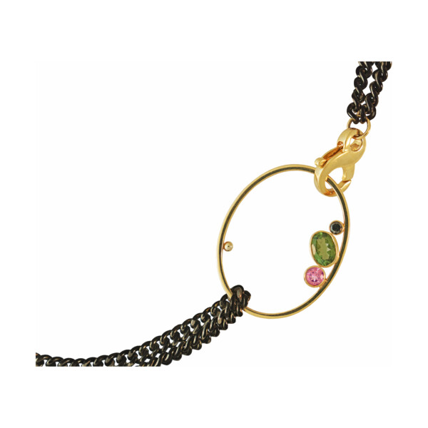 Closeup photo of Gem Oval Curb Chain Necklace