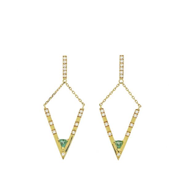 Closeup photo of V Diamond Tourmaline Dangle Earrings