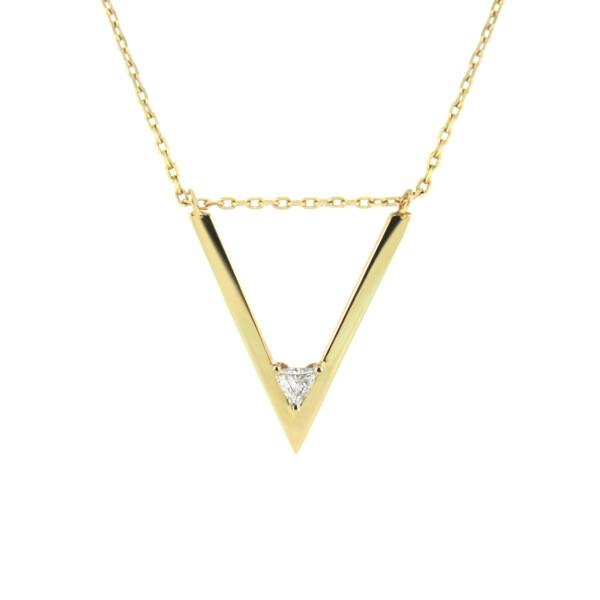 Closeup photo of V Trillion Diamond Necklace
