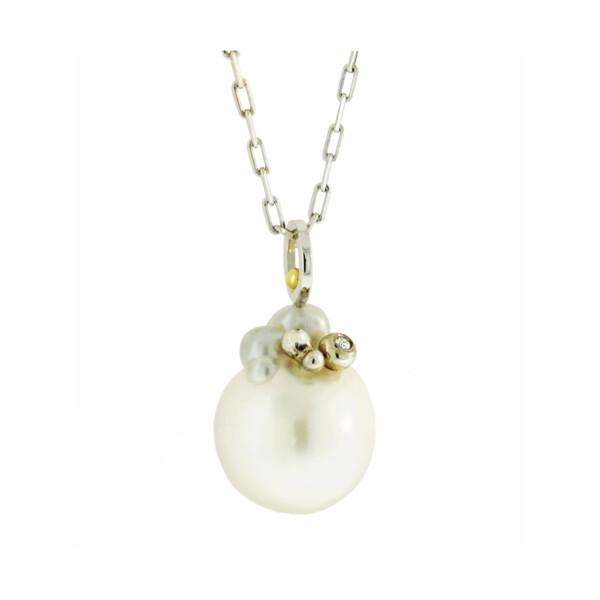 Closeup photo of South Sea Pearl, Diamond Sculpture Necklace