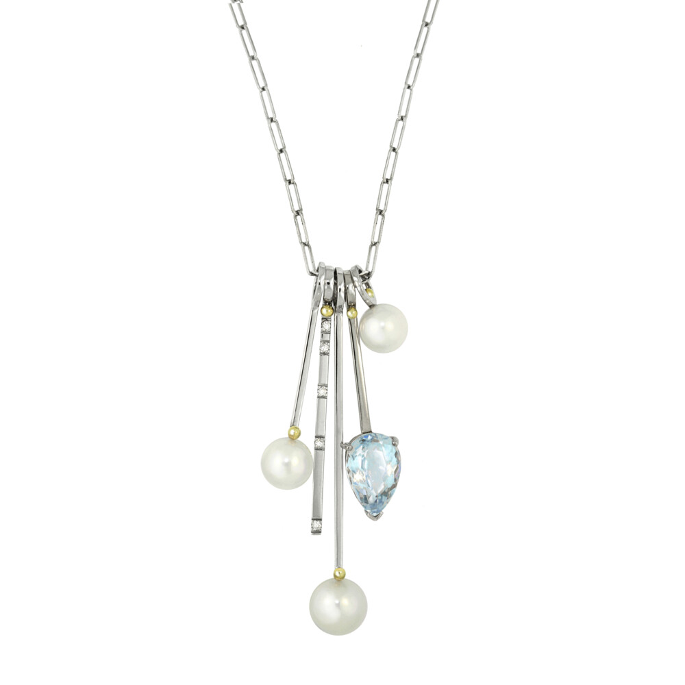 Blue Topaz, Pearl & Diamond Stack Charm Necklace- 5 stack