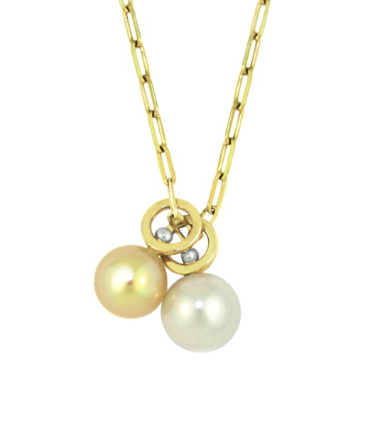 Closeup photo of Golden South Sea and White Pearl - Double Short Stack Charm Necklace