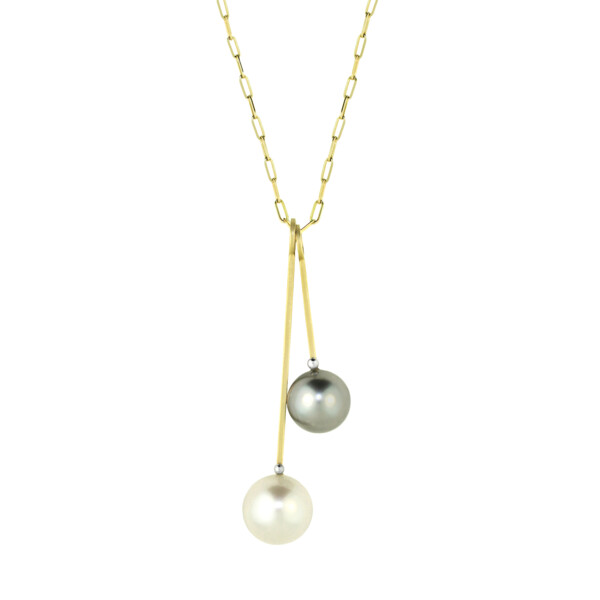 Closeup photo of Australian South Sea and Tahitian Pearl - Double Charm Stack Necklace