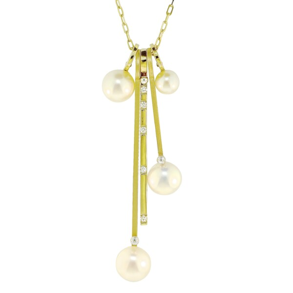 Closeup photo of Pearl & Diamond Drop Stack Charm Necklace- 5 stack