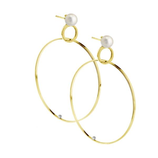 Closeup photo of Double Hoop Pearl Earring