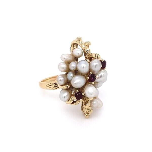 14k YG Cluster Pearl & Garnet Ring 8.4g s6.5