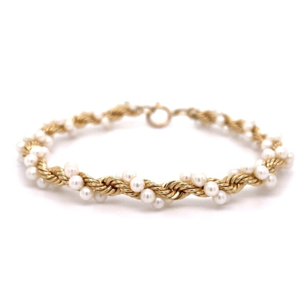 "Closeup photo of 14k YG Rope & 3mm Seed Pearl Bracelet 12.3g, 7"""