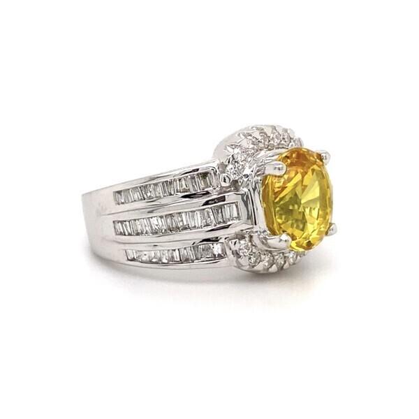 14k WG 3.50ct GIA Diffused Yellow Sapphire & 0.80ct DIamond RIng 9.3g, s7