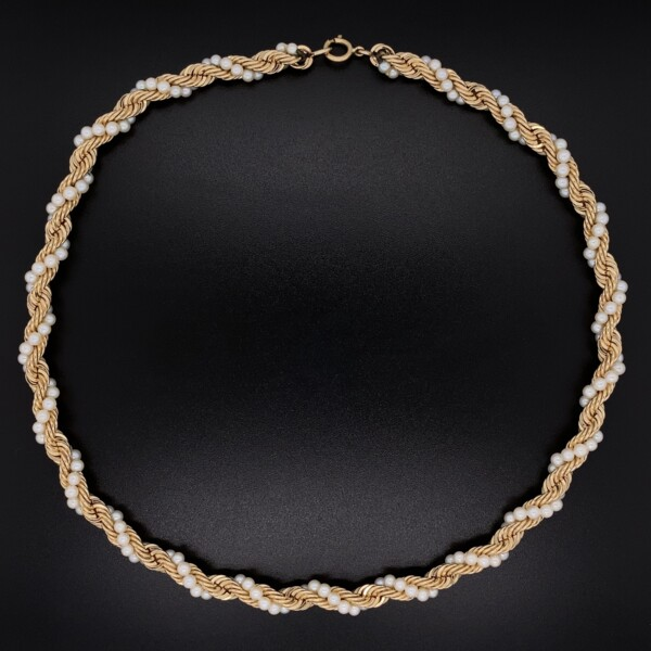 """Closeup photo of 14k YG Rope & 3mm Seed PEarl Necklace 35.0g, 15"""""""