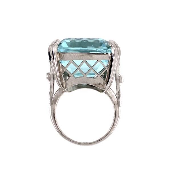 Platinum 39.30ct Aquamarine Ring with 0.28tcw Diamonds & Sapphires 19.7g, S6.75