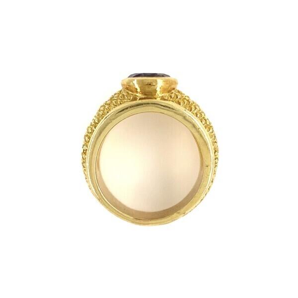 18k YG Judith Ripka Iolite & Diamond RIng 16.9g, 7.25