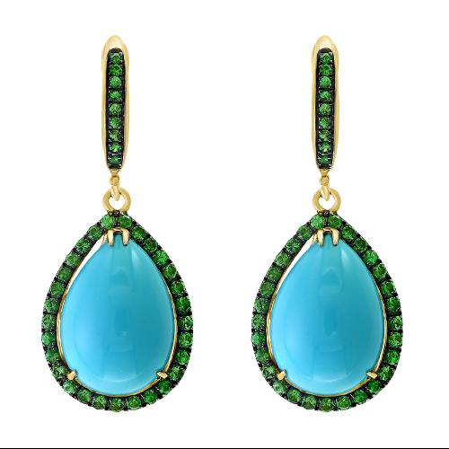 Closeup photo of 14k Tsavorite & Turquoise Dangle Earring