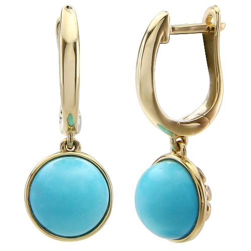 Closeup photo of 14k Round Turquoise Dangle Earrings