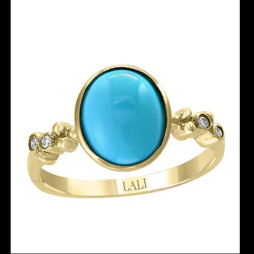 14k Yellow Gold & Diamond Turquoise Ring