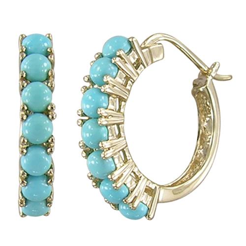 Closeup photo of 14k Turquoise Hoop Earrings