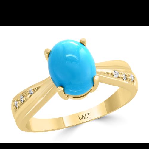 14k Yellow Gold Diamond & Turquoise Ring